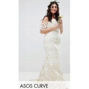 Asos Curve Lace Bandeau Maxi Wedding Dress ❤